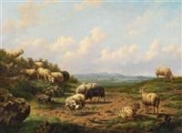 weite landschaft mit schafen by louis pierre verwee