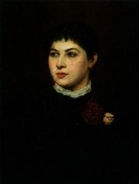 yerony de gravenda- brustportrait mit roter rose by carl johann spielter