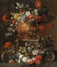 blumenstillleben in skulptierter vase by gaspar pieter verbruggen the elder