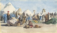 the camp at tantah, egypt (2 works) by hercules brabazon brabazon