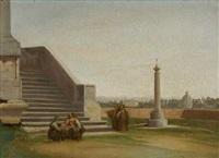 rom - terrasse mit figurenstaffage (study) by heinrich reinhold