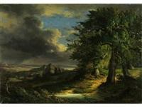 paisaje con pinos by vicente camaron y torra