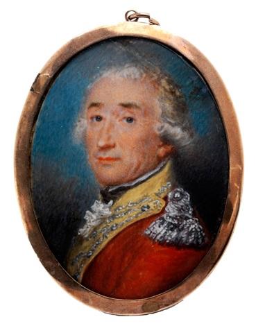 portrait eines adeligen herren im roten militärrock mit silbernen epauletten und gelbem revers by friedrich heinrich füger