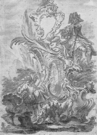 jäger und hunde in rocaille kartusche by jeremias wachsmuth