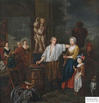 im atelier des künstlers by jan josef horemans the younger