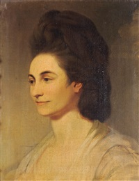 portrait of dame jane pigott, wife of sir arthur pigott kt, (mp for arundel, sussex), head and shoulders by john hamilton mortimer