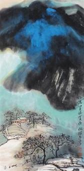 泼彩山水 镜片 设色纸本 by he haixia
