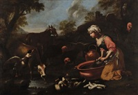 lavandaia con armenti by jacob van der kerckhoven