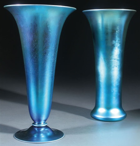 Two Carder Steuben Blue Aurene Art Glass Vases By Steuben Glass On