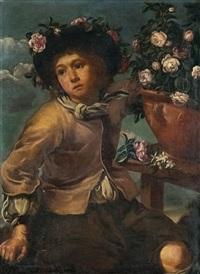 junge mit rosen in einer vase by bernhard keil