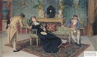 aufwartung eines kavaliers im saloninterieur by pietro gabrini