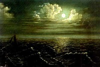 moonlight seascape by julius robert hoening