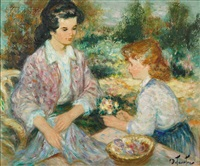 mother and daughter in the garden by pierre eugène duteurtre
