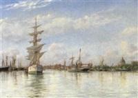 havneparti fra kobenhavns havn by c.v. bunch