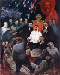 stalin auf dem thron, sowjetischen machthaber und folterknechte by vladimir petschatnik