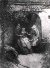 bäuerin mit kindern auf der bank vor dem bauernhaus by emmanuel spitzer