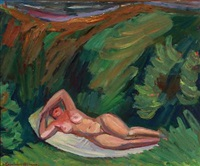 sunbathing woman by anders gudmundsen-holmgreen