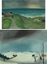 vinterlandskab - tøvejr - marts and west coast scenery (2 works) by knud kristensen