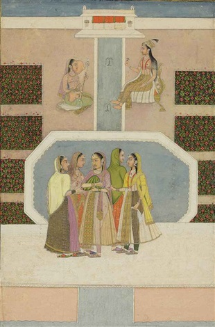 princess with attendants in a garden by anonymous indian 18