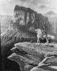 a horse and rider at the grand canyon by jim abeita