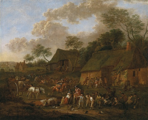 plündernde soldaten in einem dorf by jan peter van bredael the younger