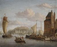 nördlicher hafen an einem schloss mit zahlreichen lastbooten und kaufleuten by jacobus storck
