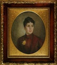 brustportrait einer jungen frau mit gelber rose by carl johann spielter