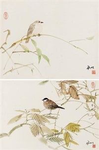 花鸟 (二帧) (2 works, various sizes) by liu yongming