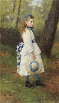 portrait of a young girl, standing in a sunlit glade, wearing a cream dress with blue and white ribbons, holding a bonnet in her right hand by george reid