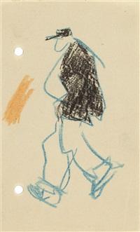 gehender mann mit schwarzer jacke by lyonel feininger