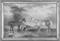 portrait of two horses and a dog in a landscape by george jackson