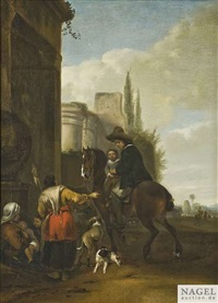 ein reiter mit seinem kind hält bei bettlerinnen an einer ruine by hendrick verschuring