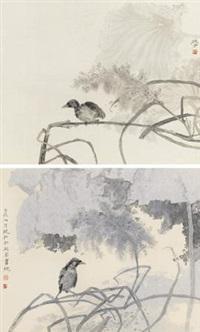 花鸟 (两帧) (2 works) by mo xiaosong