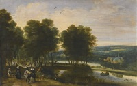 elegant figures walking beside a lake in a wooded landscape by jacques fouquieres
