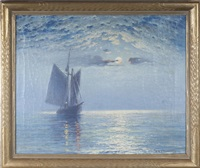 sailboat in moonlight by theodore victor carl valenkamph