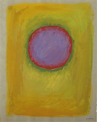 purple-red moon on chartreuse (+ green field on pink; 2 works) by rex ashlock