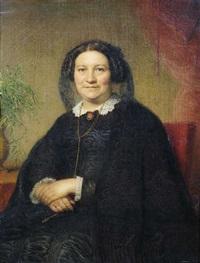 bildnis einer älteren dame in schwarzem kleid in einem roten lehnstuhl sitzend als dreiviertelfigur by jean baptiste (jean mathieu) nisen