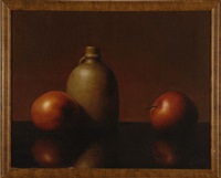 still life of apples and a crock by al jackson