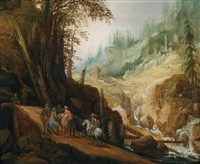 felsige landschaft mit reitern by philips de momper the elder