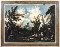paesaggio fluviale con figure - river landscape with figures by antonio francesco peruzzini