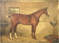 a chestnut hunter in a stable (+ patience & jack; 2 works) by j. quinton