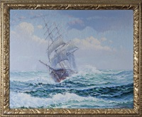 clipper ship on the open sea by theodore victor carl valenkamph