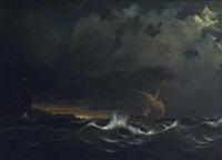 segelschiff in stürmischer see by johann baptist weiss