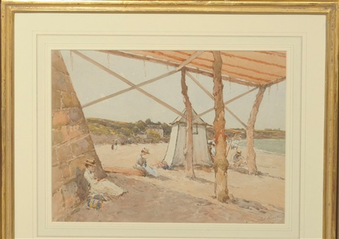 beach scene with figures beside a bathing tent by paul emile lecomte