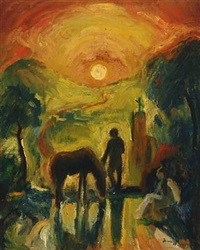 landscape with man and woman in the sunset by sarus nielsen