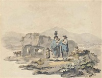 costume of the peasantry in the island of anglesey with the druidical cromlech of plas newydd, snowdon beyond by julius caesar ibbetson