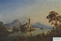 stimmungsvolle ansicht am lago maggiore im frühen abendlicht by henry jackel