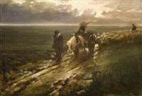 campagna veneta, ritorno dai campi dopo il temporale by felice castegnaro