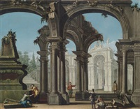 architekturcapriccio mit figurenstaffage by francesco battaglioli