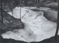 bewaldete küste mit dünen und segelbooten by gustav hilbert